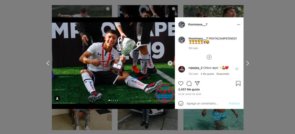 Thomas en su cuenta de Instagram